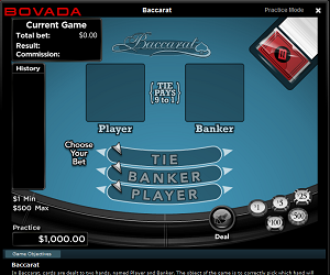 Bovada Baccarat Table