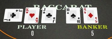 A hand showing a Baccarat or Zero value hand