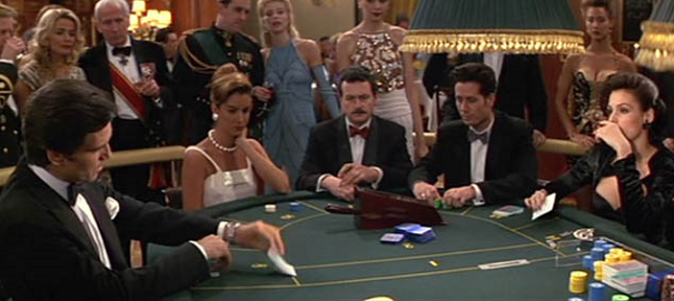 James Bond playing Baccarat in Golden Eye